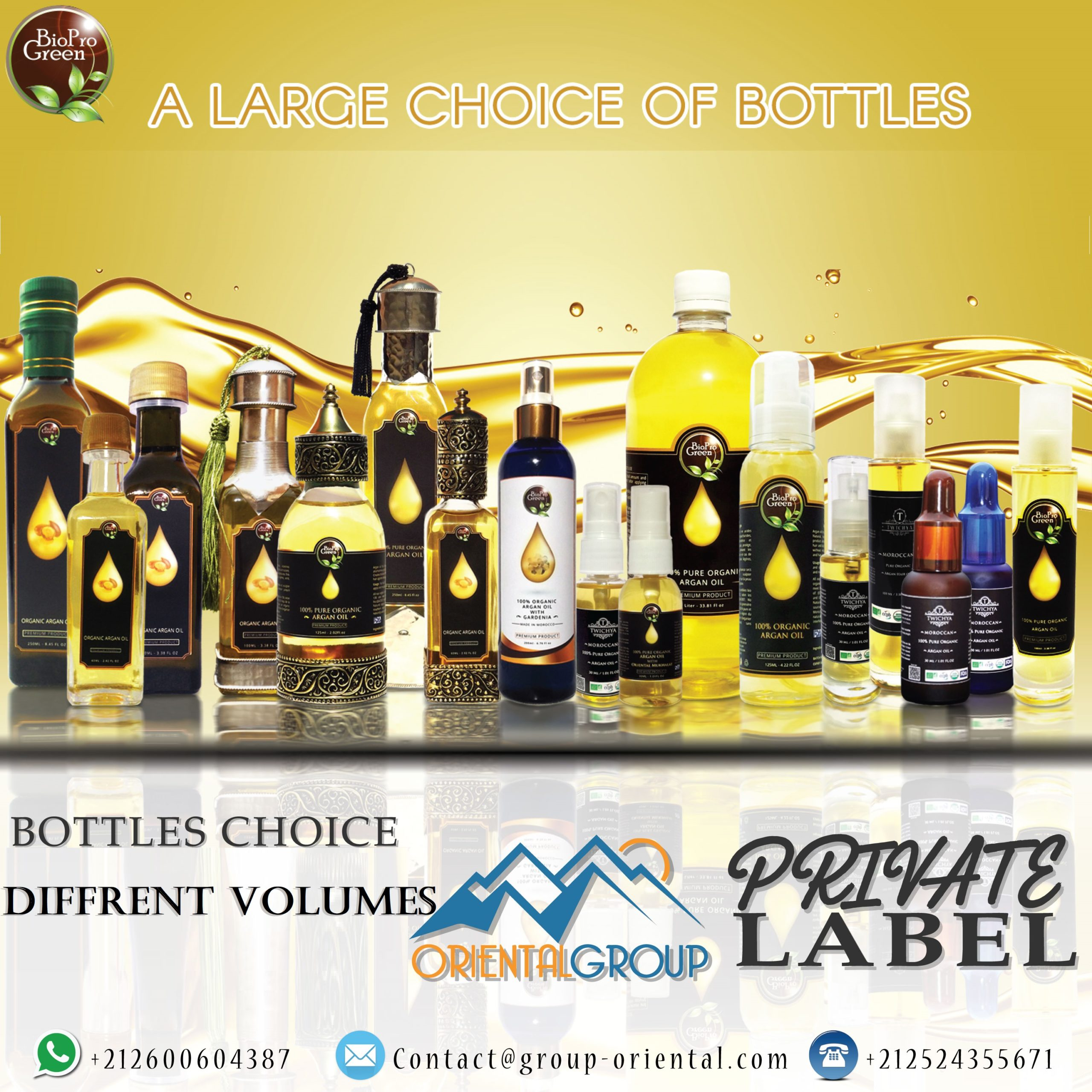 types of bottles Cosmetic argan oil