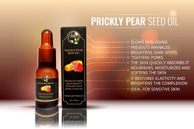 small bottle of prickly pear seed oil